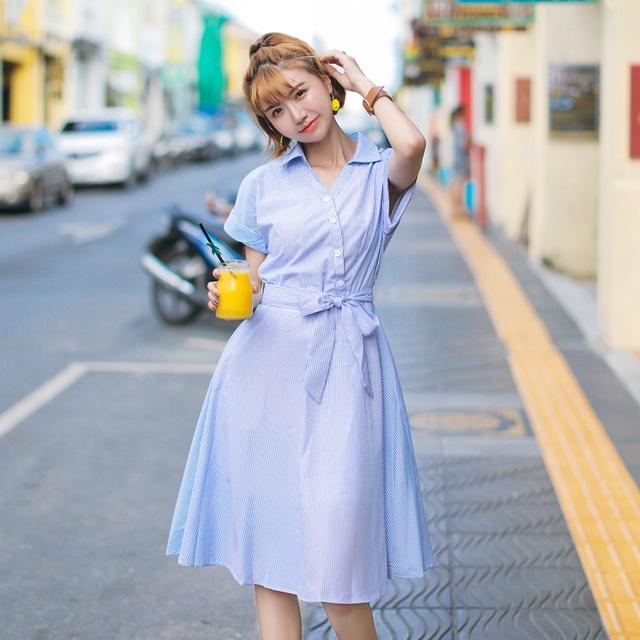 Đầm sọc xanh nút xéo (kèm hình thật)