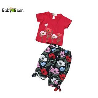 Đồ Bộ Lửng Áo Thun Cotton Quần Hoa Rực Rỡ bé gái BabyBean