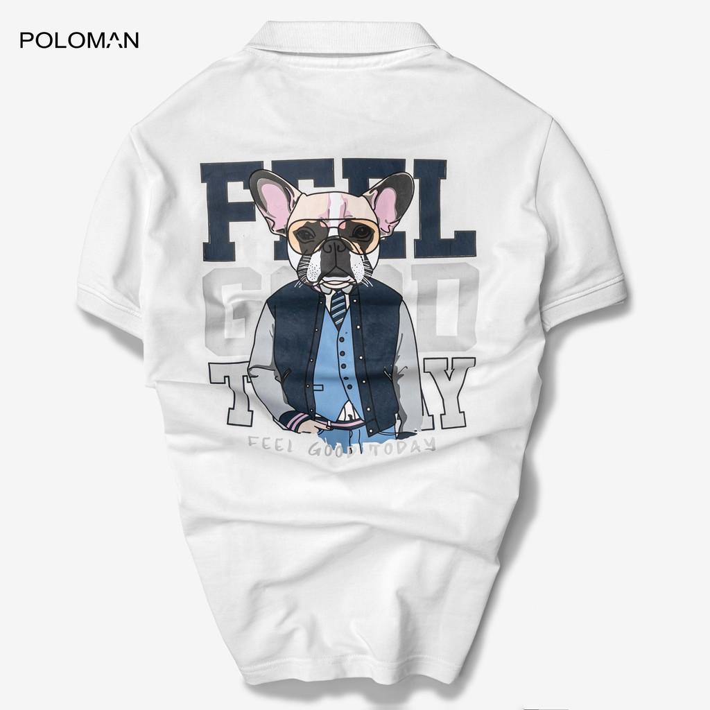 Áo thun Polo nam cổ bẻ DODO hình Pug Dog vải Cotton Trắng P14-POLOMAN