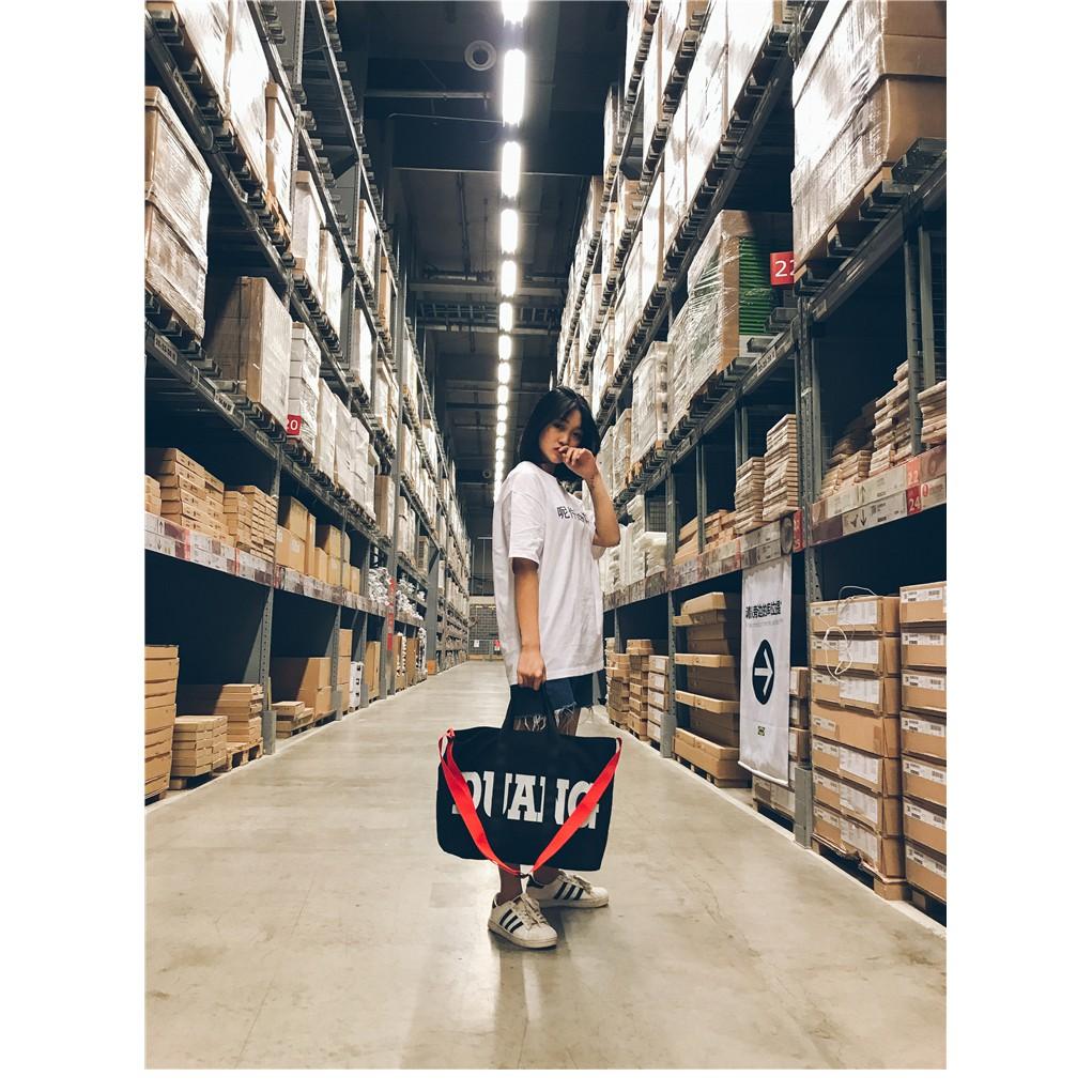 Túi vải in chữ ngăn chứa rộng phong cách Nhật Bản