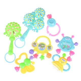 7Pcs born Toddler Baby Shaking Bell Rattles Teether Toys Kids Hand Toys