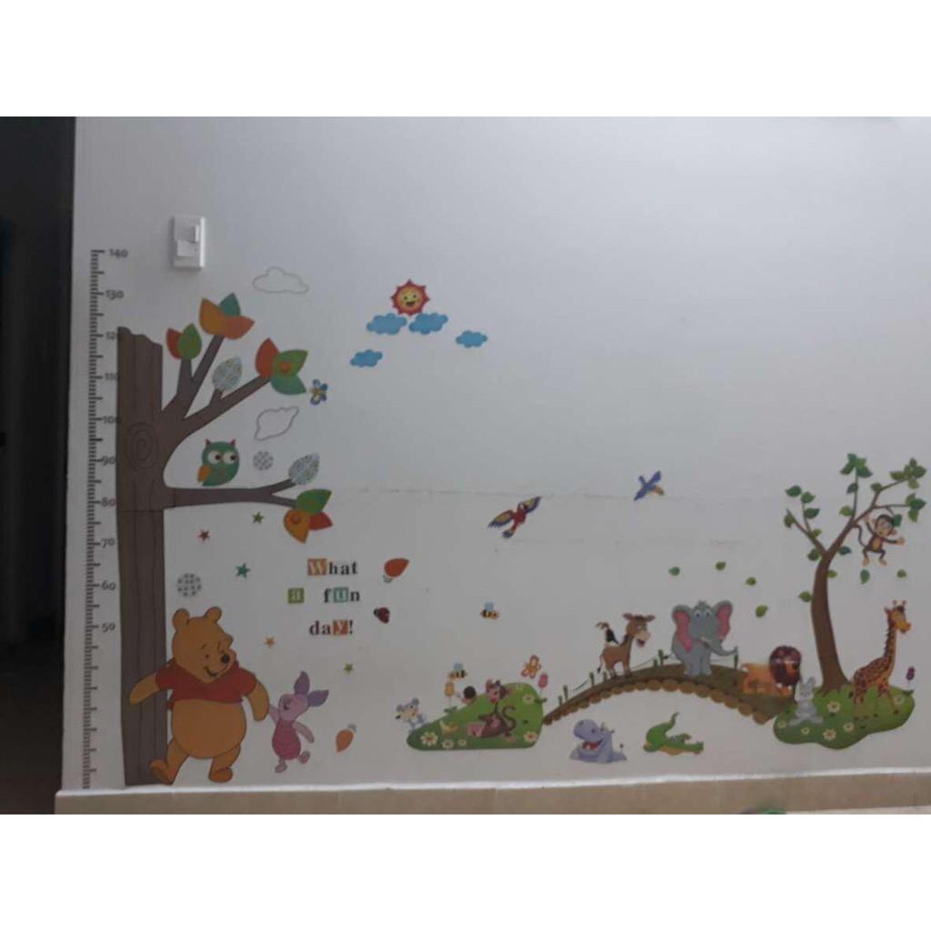 Decal dán tường kết hợp thú qua cầu và đo chiều cao gấu pooh - 2453096 , 1066094803 , 322_1066094803 , 110000 , Decal-dan-tuong-ket-hop-thu-qua-cau-va-do-chieu-cao-gau-pooh-322_1066094803 , shopee.vn , Decal dán tường kết hợp thú qua cầu và đo chiều cao gấu pooh