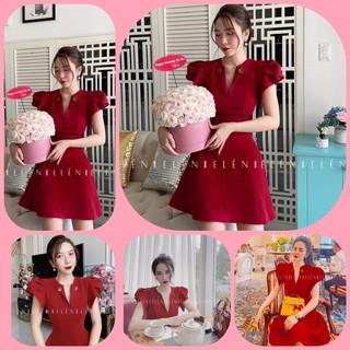 Đầm Đỏ Cổ Bẻ Tay Xếp 2 Lá Siêu HOT