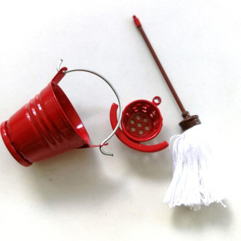 Coagulatepower 1 Set 1:12 dollhouse miniature mop bucket dollhouse pretend play furniture toy