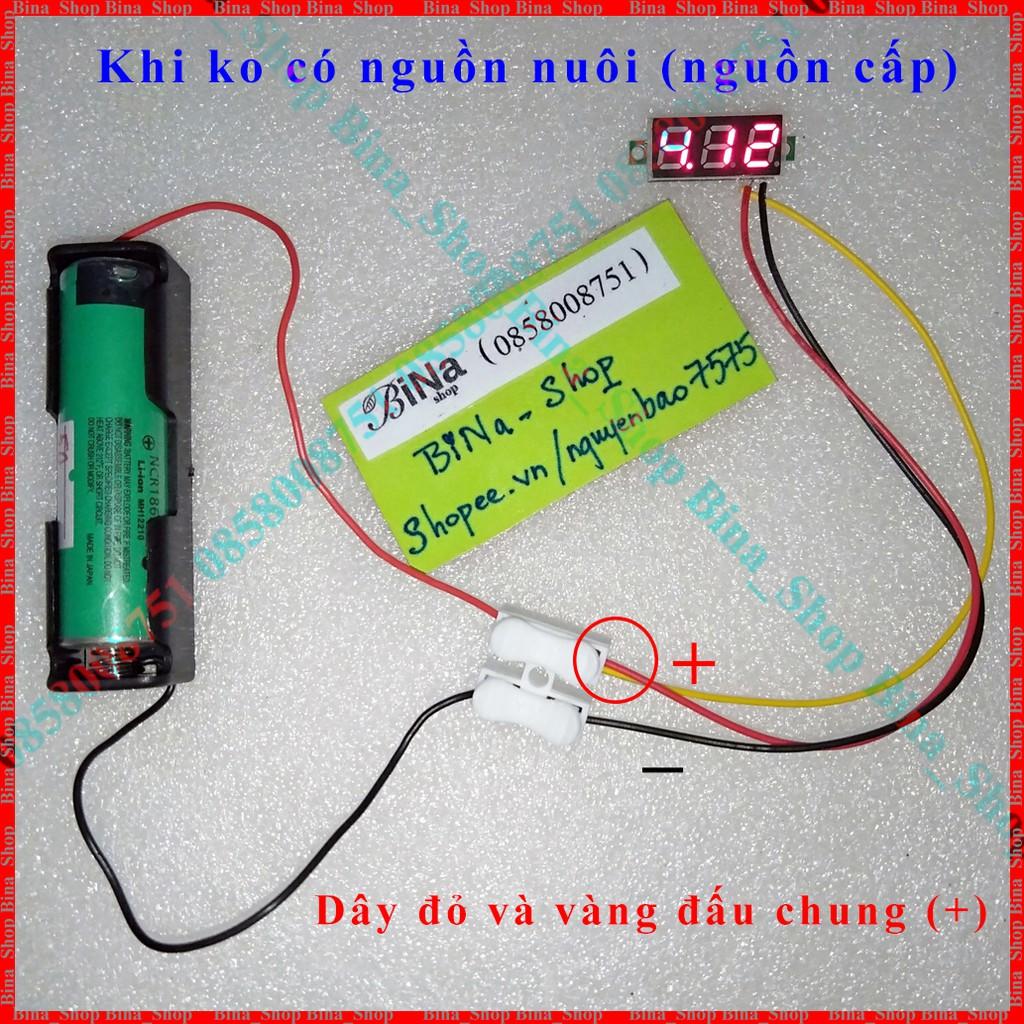 """Vôn kế DC 0-100V 0.36"""" 3 dây led đỏ"""