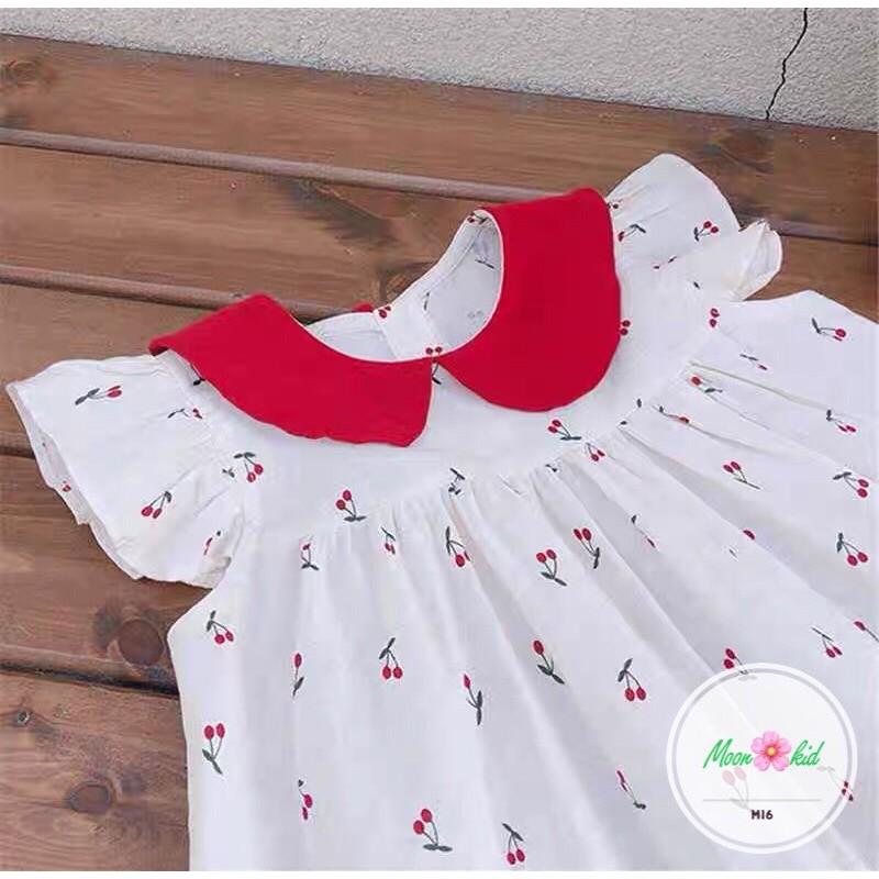[Mã FASHIONT4FA2 giảm 10K đơn 50K] Váy cherry cánh tiên cổ đỏ bé gái