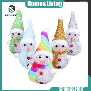 【Hot】 Crystal Hat Snowman Colorful Night Light Christmas Gifts Decoration Color Changing Christmas Night Light