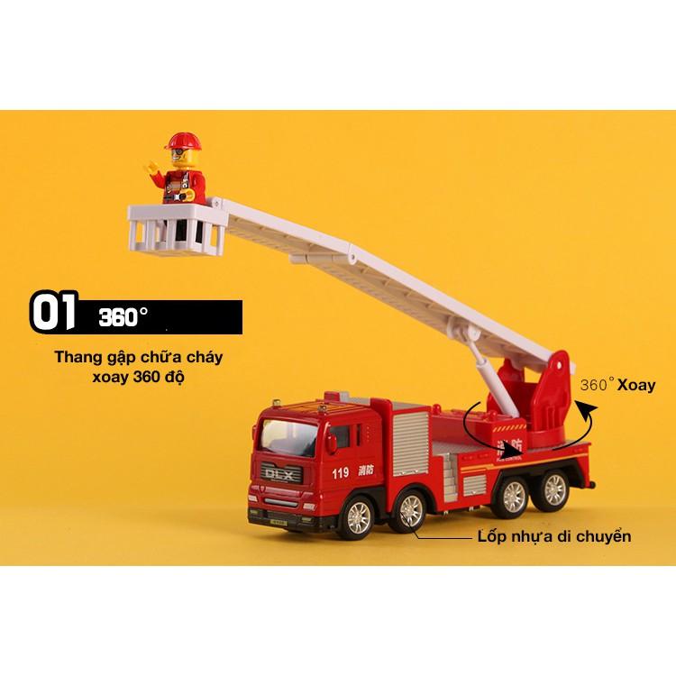 Mô hình xe đồ chơi xe cứu hỏa cho bé chất liệu nhựa an toàn, đẹp, sắc sảo