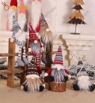 [2020] Christmas stripe hat invisible dwarf Santa doll pendant Nordic dwarf Doll Christmas tree ornament doll decoration TPE