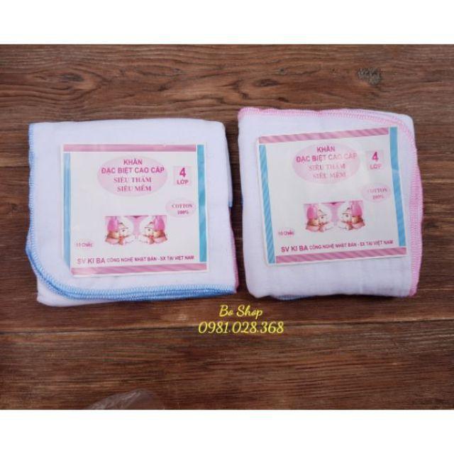 [SIÊU TIẾT KIỆM] khăn xô cho bé - Khăn sữa ki ba 4 lớp - SIÊU BỀN