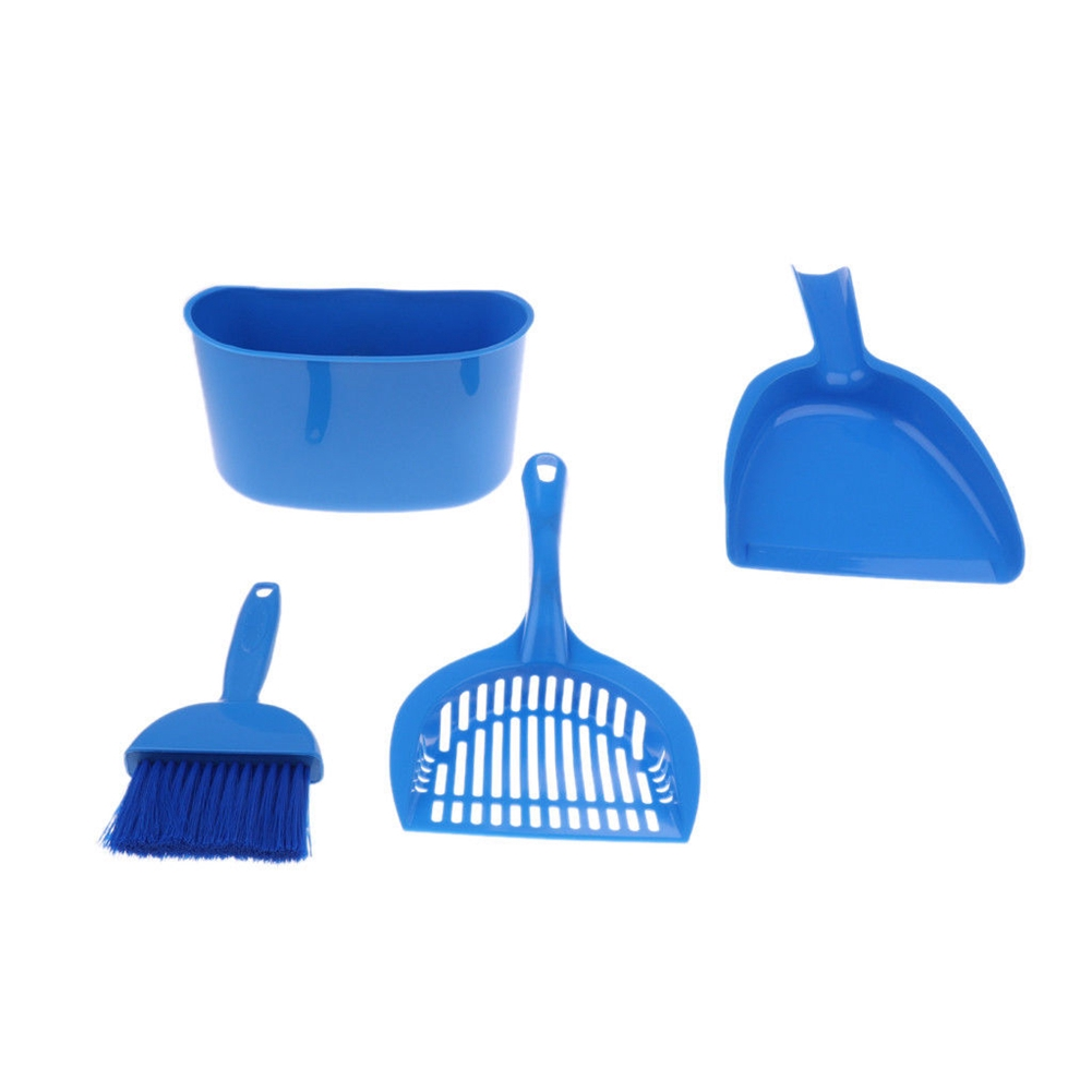 4PCS/Set Cat Sweep Small Shovel Pet Plastic Scoop Cleaning Brush Tool Bucket Broom Dustpan Set