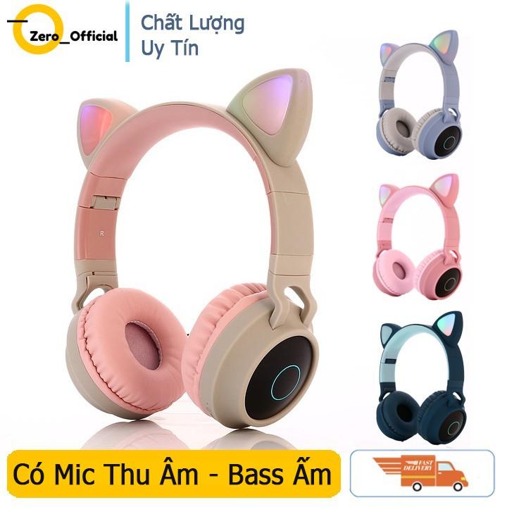 Tai Nghe Mèo Bluetooth, Headphone Tai Mèo Dễ Thương Có Mic,Âm Bass Mạnh Mẽ Và Dung Lượng Pin Khủng 400mAh BH 12 Tháng