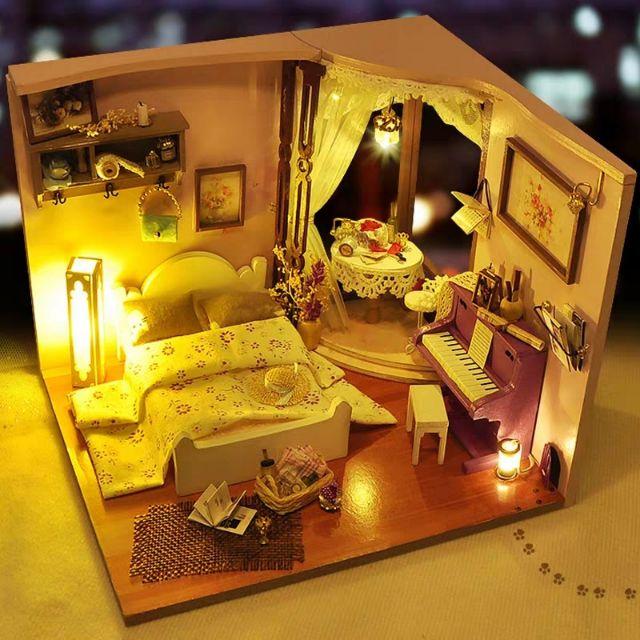 Mô hình nhà gỗ búp bê Dollhouse DIY – Kèm Mica – TW26 Flower Color
