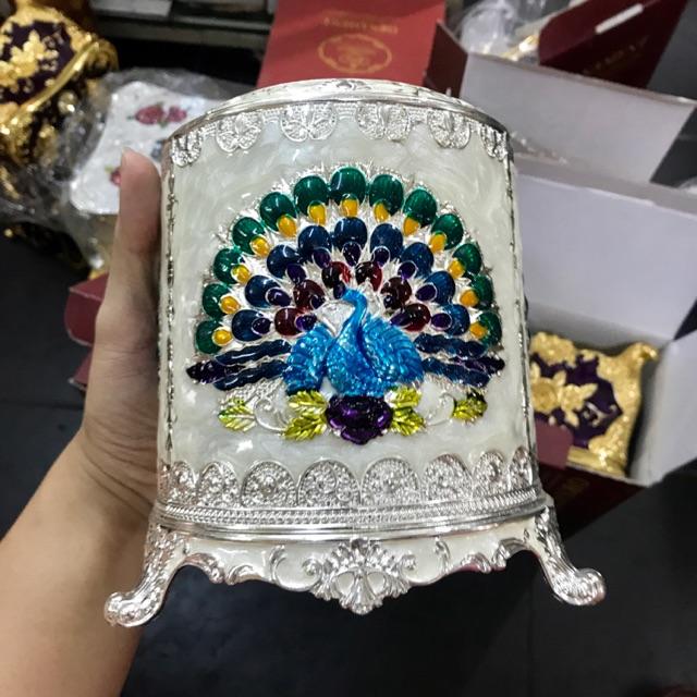 Hộp đựng khăn giấy hợp kim tròn mạ bạc Hoàng Gia Thái Lan Cao Cấp