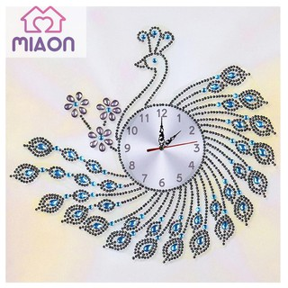 Yesheng DIY Peafowl Special Shaped Diamond Painting Cross Stitch Clock Home Decor