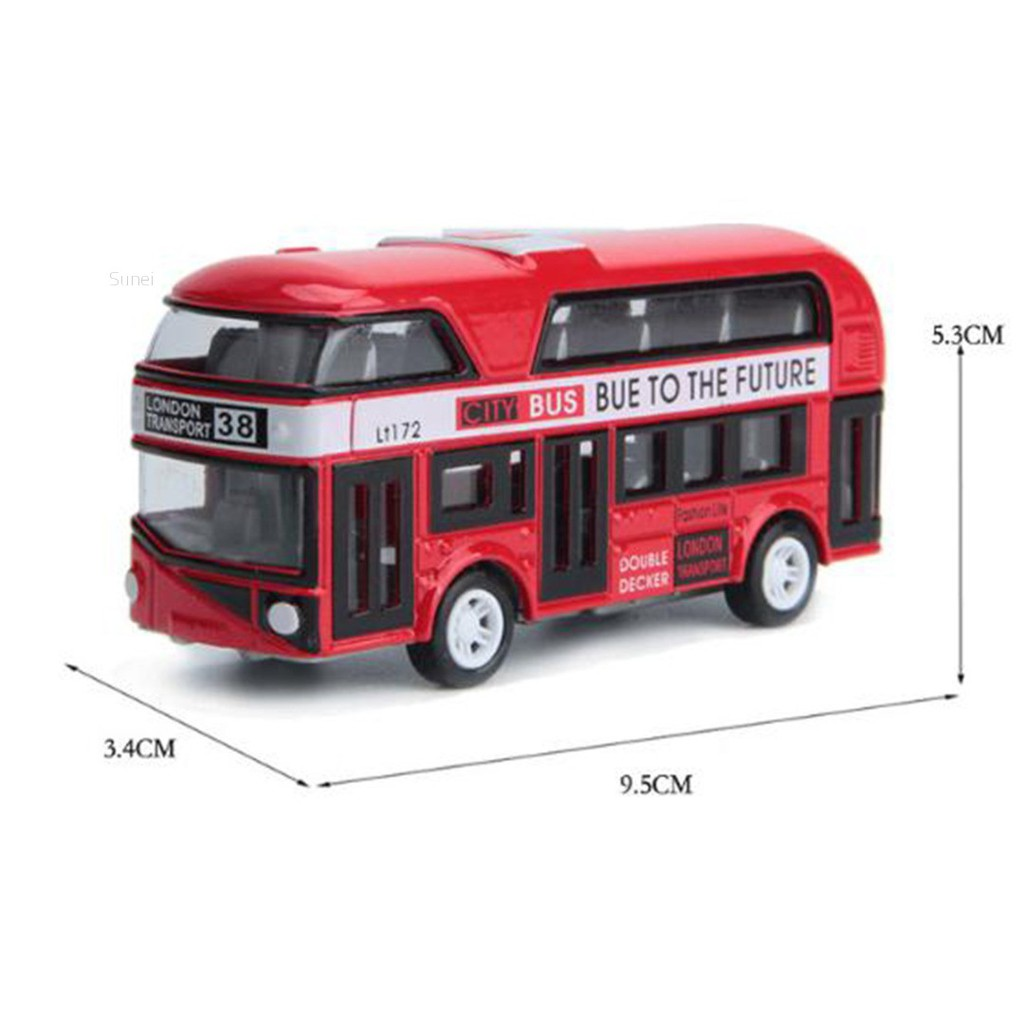💗Sunei💗1:43 Car Model Double-decker Bus London Alloy Diecast Vehicle Toys For Kids