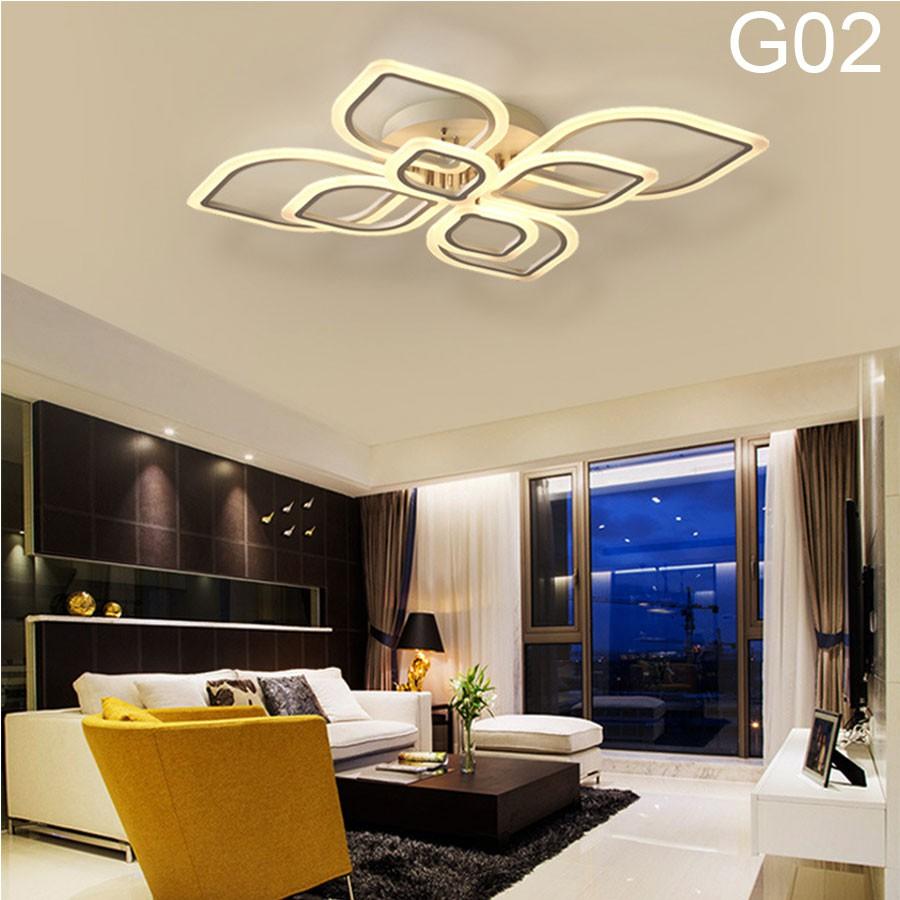 ĐÈN led ốp trần trang phòng khách-G02 đèn trang trí 8 cánh hình lá, có 3 chế độ sáng