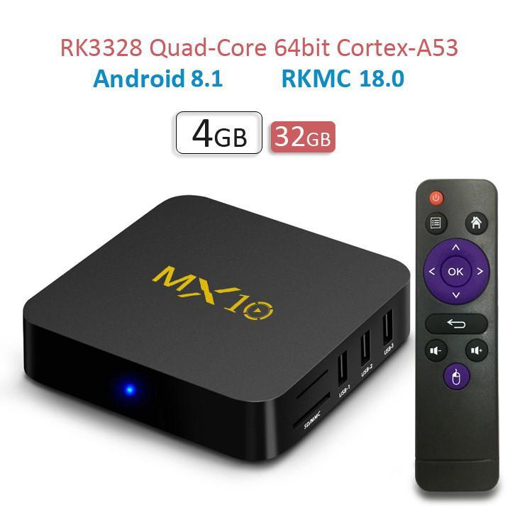 Hộp Tv Thông Minh Lõi Tứ Usb 3.0 Mx10 Android 8.1 Oreo 4 + 32gb 4k Lõi Tứ Cổng Usb 3.0