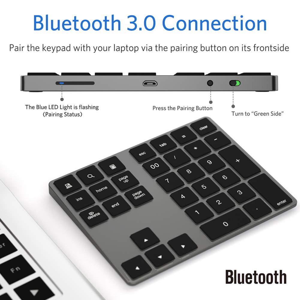 Bàn Phím Không Dây Bằng Nhôm 34 Phím Cho Macbook Air / Pro