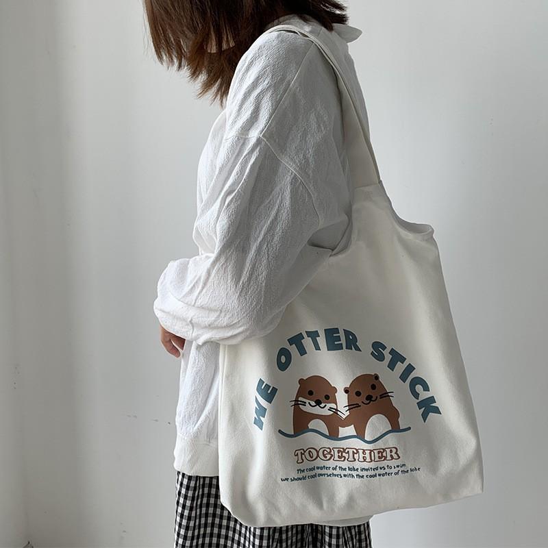 Túi Vải Canvas Đeo Vai Phong Cách Nhật Bản Xinh Xắn Dành Cho Nữ