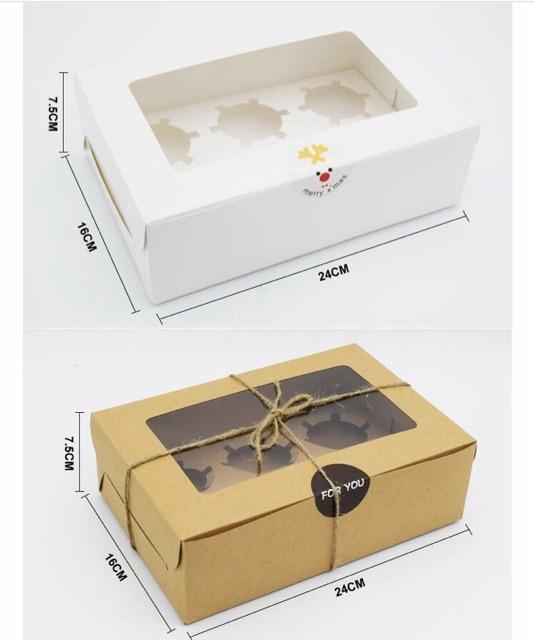 10 Hộp đựng cupcake 6 cái màu trắng có khay