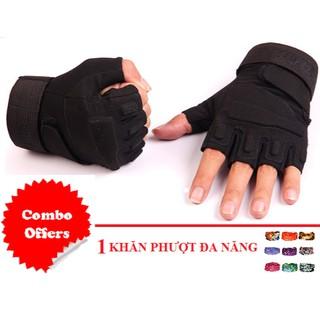 COMBO Găng tay nam hở ngón BLACKHAWK (ĐEN, SIZE M,L) + KHĂN PHƯỢT ĐA NĂNG