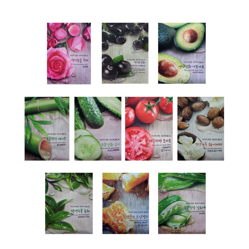 [SALE MẪU CŨ] Combo 1 gói 10 miếng mặt nạ giấy dưỡng da Nature Republic Real Nature Mask Sheet