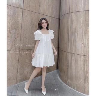 Váy Trắng Dáng Suông Đuôi Cá, Vải Sơmi Mềm Lên Dáng Cực Xinh