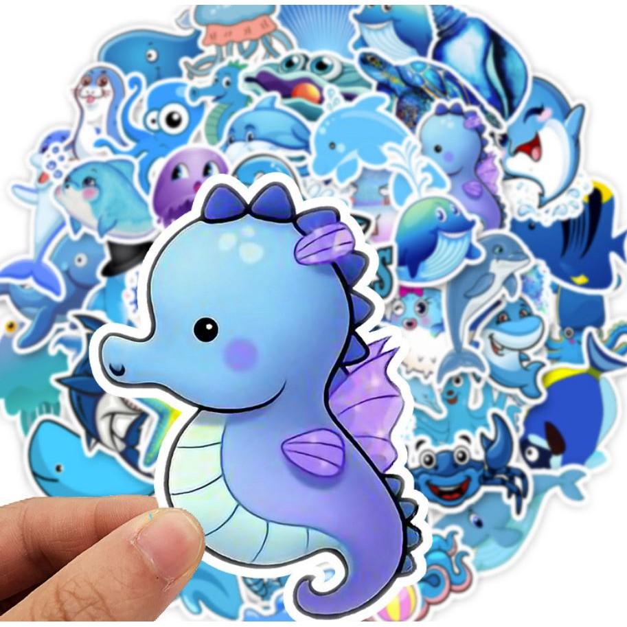 Sticker ĐẠI DƯƠNG XANH nhựa PVC không thấm nước, dán nón bảo hiểm, laptop, điện thoại, Vali, xe, Cực COOL #62