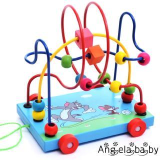 ⓗღ✯Cartoon Animal Trailer around Bead Toy Children´s Early Childhood Education Wooden Bead Toys