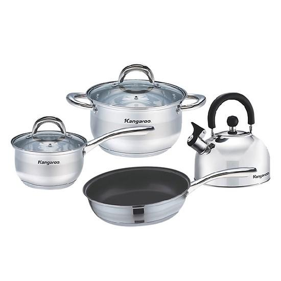 Bộ Inox Nồi Chảo Quánh Ấm Bếp Từ Kangaroo KG998M (Chảo 24cm, Quánh 16cm, Nồi 24cm, Ấm 2,5L -Tất cả dùng được với bếp từ)