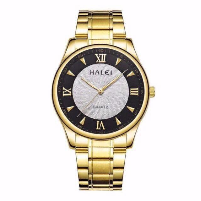 Đồng hồ nam nữ HALEI dây kim loại 506 khung thép vàng sang trọng lịch lãm