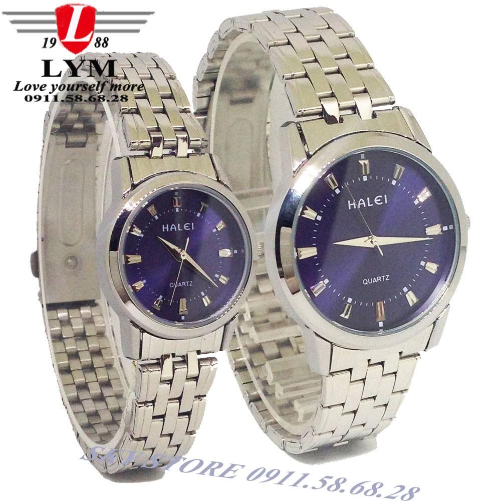 Đồng hồ Đôi nam nữ dây thép không gỉ cao cấp HALEI HA502ML (Mặt xanh)