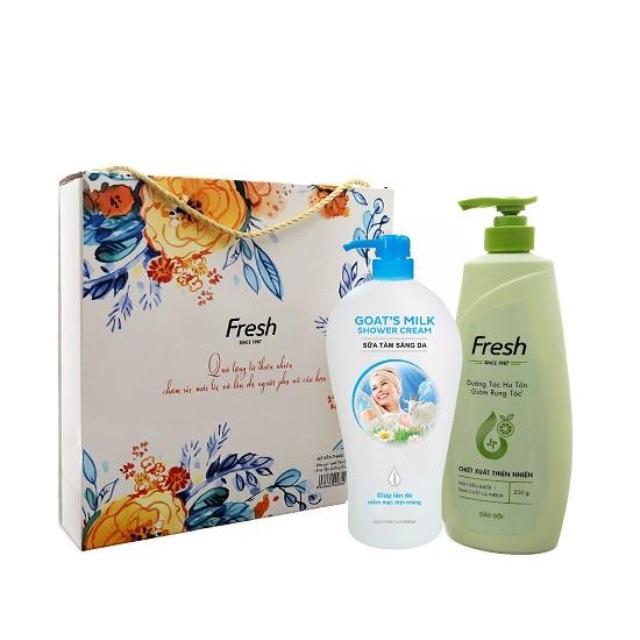 Hộp quà dầu gội Fresh bưởi và sữa tắm sáng da Fresh 1100g