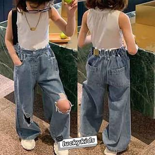 [Mã FASHIONCB264 giảm 10K đơn bất kỳ] Quần Jeans Ống Rộng Màu Trơn Thời Trang Hàn Quốc 2021 Cho Bé Gái