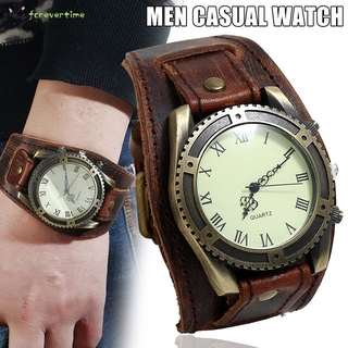 ☞ Phụ kiện trang sức☜ Men Watches Punk Vintage Cow Leather Wristwatch Roman Numbers Dial Casual Watch Gift