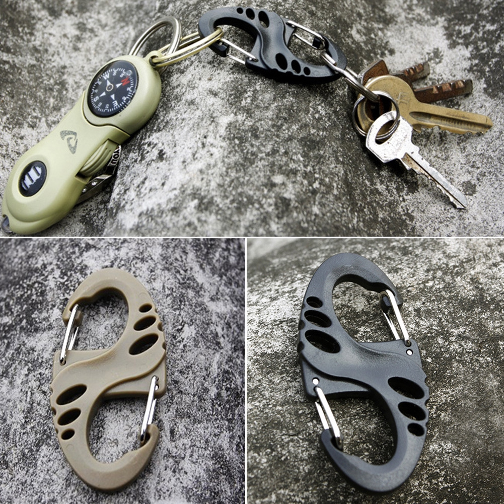 Climbing Carabiner 8 Type Style Backpack Buckle Outdoor Keychain Keyring for Hiking