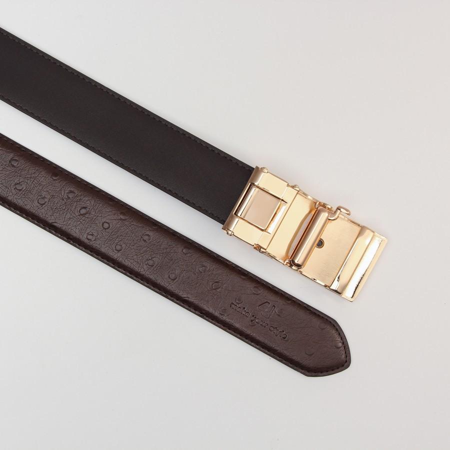 [Hoài Duy Shop] Thắt lưng nam 4U dây vân đà điểu sang trọng T176 (trắng - vàng) [Cam kết chất lượng]