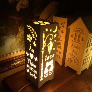 Quà tặng Noel – Quà Giáng sinh ý nghĩa – Đèn ngủ để bàn handmade, khắc chữ theo yêu cầu