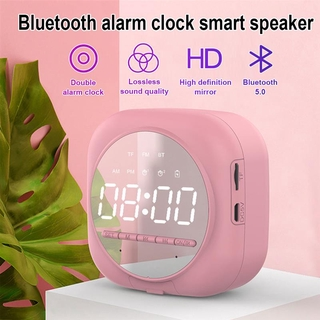 New Multifunction Digital Portable Mini Bluetooth Speaker Wireless Alarm Clock Subwoofer Music Player Snooze Desktop Clock with FM Radio AUX TF Phone Stand