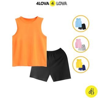 Bộ quần áo ba lỗ 4LOVA cho bé trơn hàng chính hãng từ 8-40 kg
