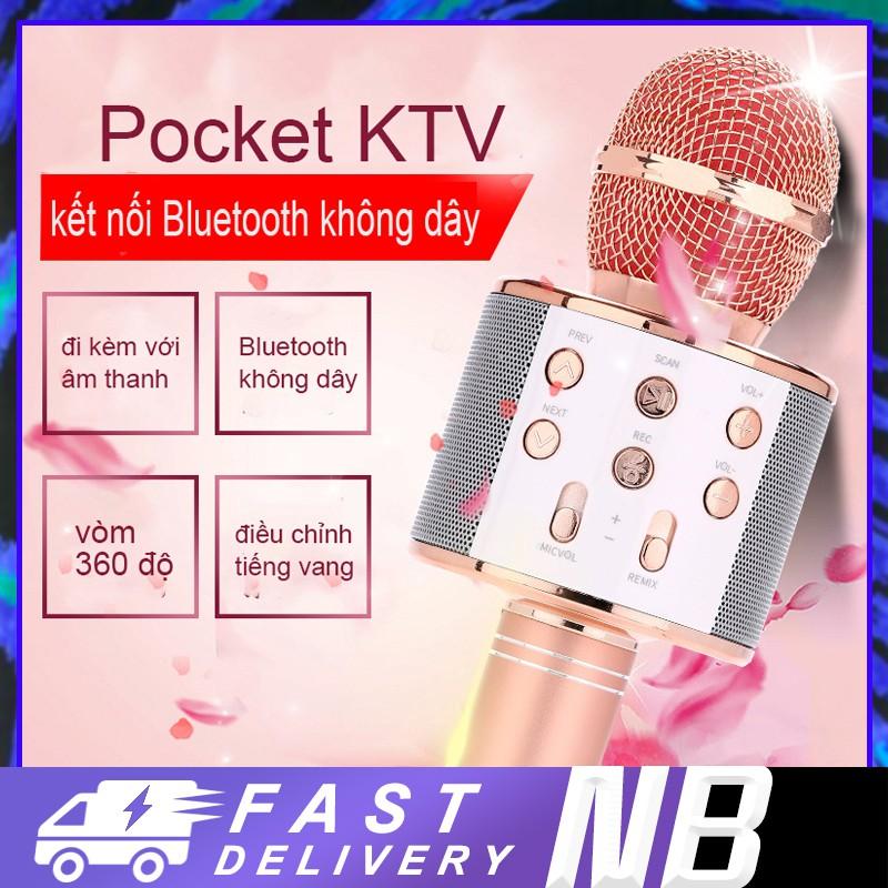 WS-858 Mic Hát Karaoke Bluetooth Không Dây Kèm loa Âm vang Ấm mic hát karaoke cầm tay mini micro [HT00001]