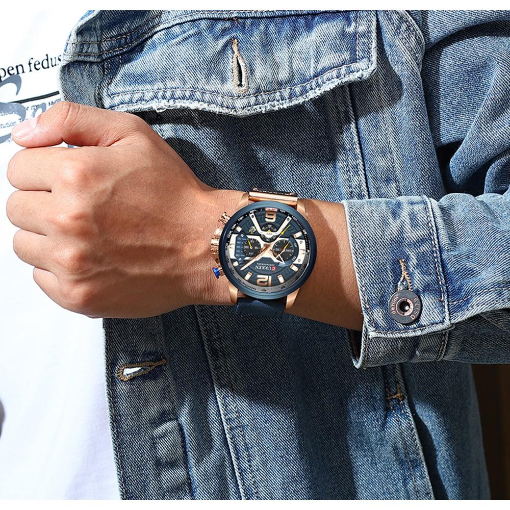 Đồng Hồ Nam dây da CURREN 8329 chính hãng , sang trọng Máy Quartz Chống Thấm Nước-Gozid.watches