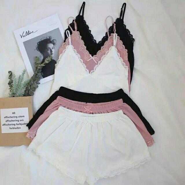 Bộ đồ ngủ 2 dây phối ren cực đẹp, quần áo ngủ nữ (hàng có sẵn, video cận chất)<