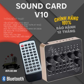 Sound Card V10 - Sound Card Thu Âm, Live Stream, Karaoke, Có Bluetooth, AutoTune, Giả Dọng, Tặng Kèm Remote
