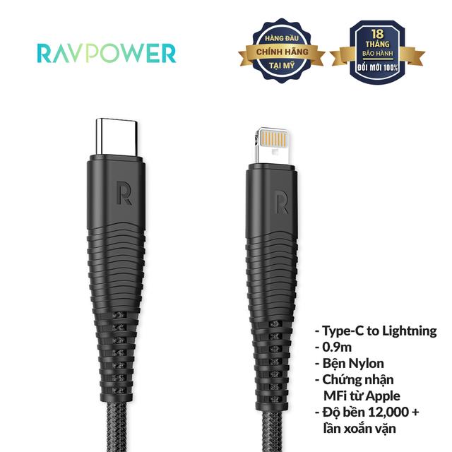 Dây Cáp Sạc Lightning (Type-C To Lightning) RAVPower RP-CB020 1m MFI, Sợi Nylon - Hàng Chính Hãng