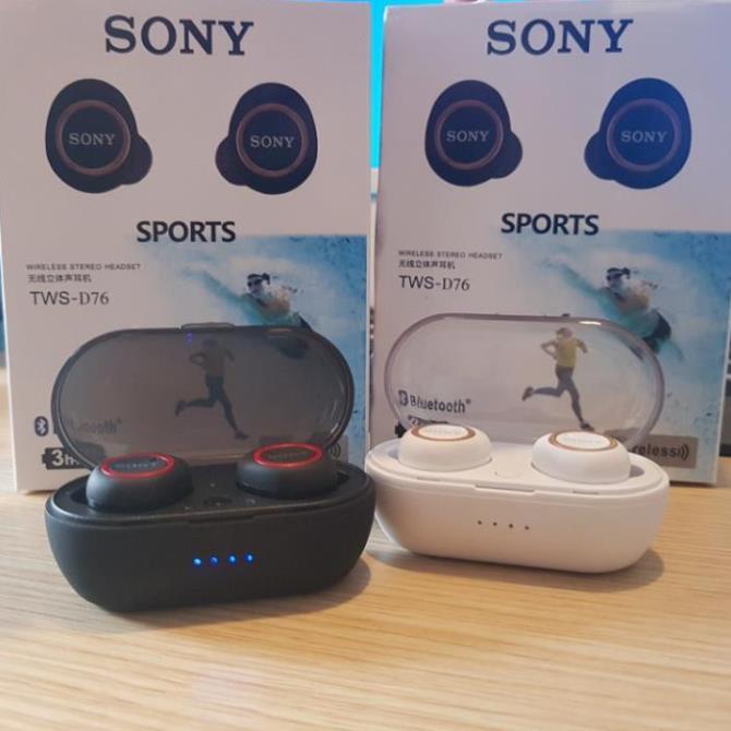 Tai nghe Bluetooth Đen Sony sport TWS-D76 Rất ấm Bass-Treble Cực Hay ( BẢO HÀNH 12 THANG )