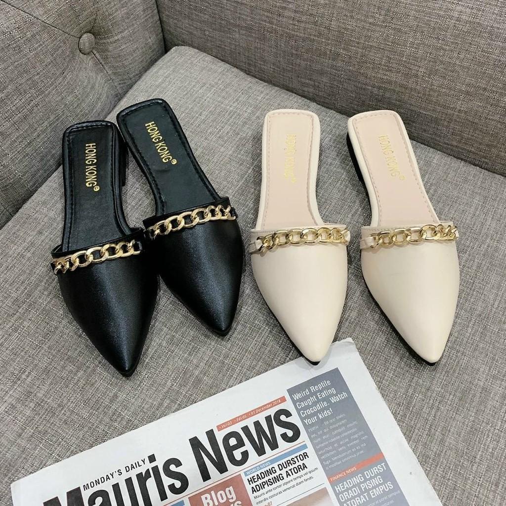 [RỘNG 1 SIZE] Giày sục nữ sang chảnh kèm xích mũi nhọn S338