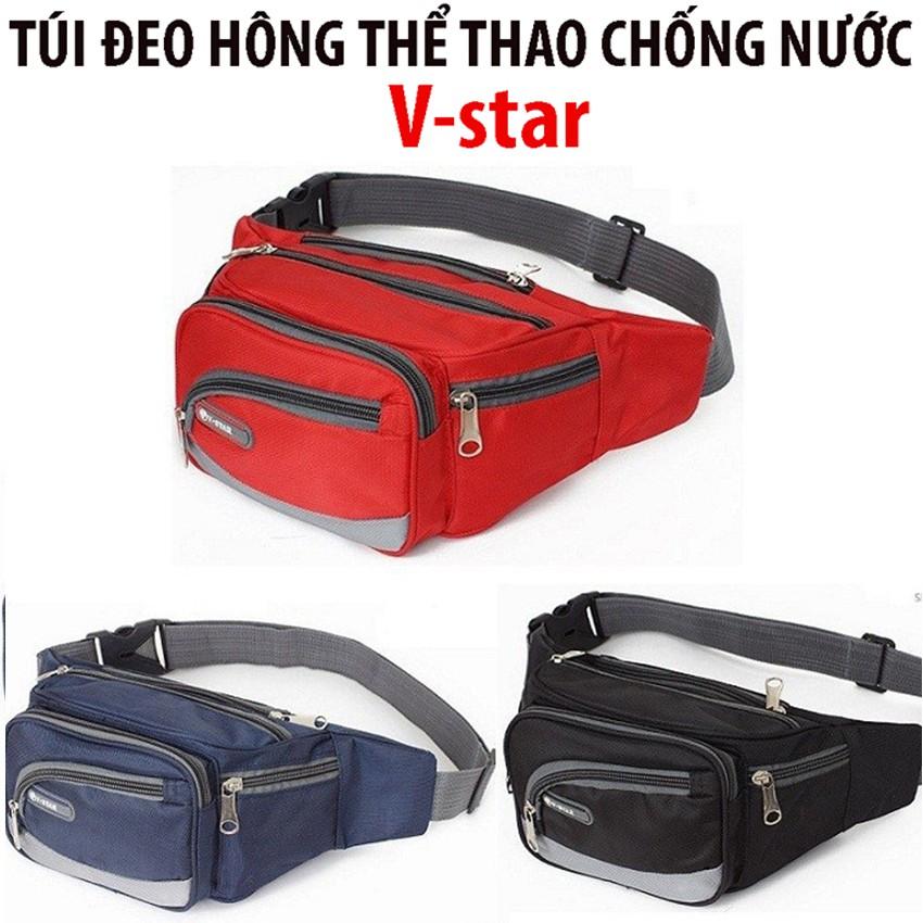 Túi đeo hông , Túi đeo bụng , túi đeo ngang bụng thể thao , túi bao tử chống thấm nước 6 ngăn tiện dụng V-Star