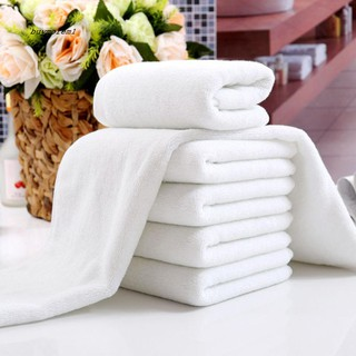 Khăn tắm vải mềm màu trắng dành cho dùng trong khách sạn kích thước 30x70cm thumbnail